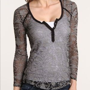 Black and gray sheer intimately free people top